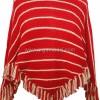 Kırmızı Çizgili Örgü Panço