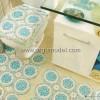 Mavi Beyaz Yuvarlak Motifli Örgü Banyo Takım Modeli