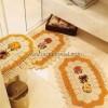 Çiçekli Krem Rengi Dantel Banyo Takımı