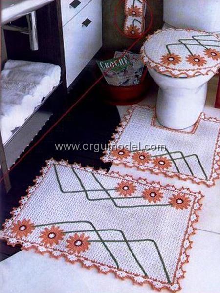 Çiçek-Desenli-Örgü Banyo-Takım-Modeli