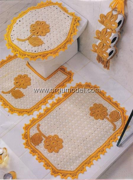 Sarı Beyaz Dantel Banyo Takımı