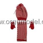 kırmızılı atkı bere eldiven