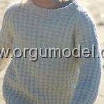 kız çocuk krem örgü kazak