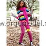 kız çocuk rengarenk kazak