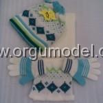 mavi beyaz atkı bere eldiven