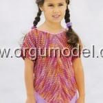 rengarenk kısa kol kız çocuk kazak